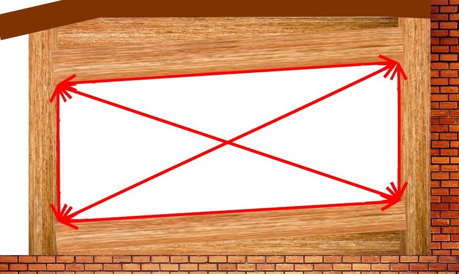 Шаг 4 Замер диагонали в наклонном прямоугольнике
