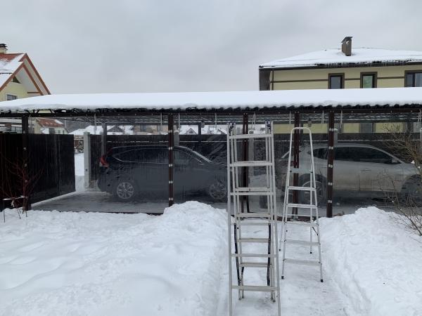 мягкие окна зимой для защиты гаража от ветра и снега